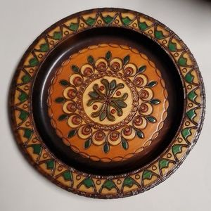 Wood Carved Decorative Plate Hand Made in Poland